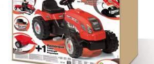 Trattore rosso GM Smoby con rimorchio a pedali