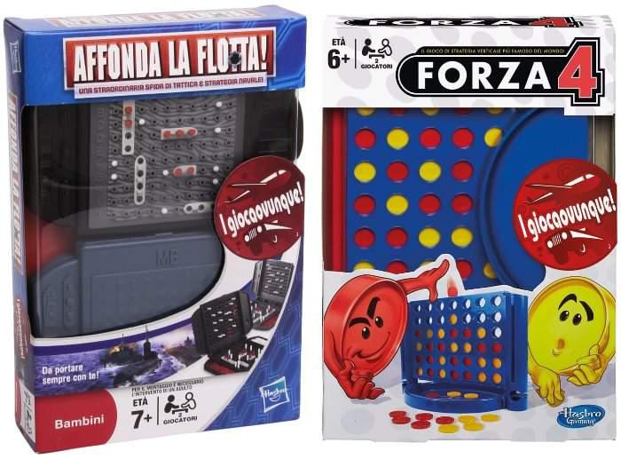 Travel Affonda La Flotta e Forza 4 di Hasbro in versione mini da viaggio