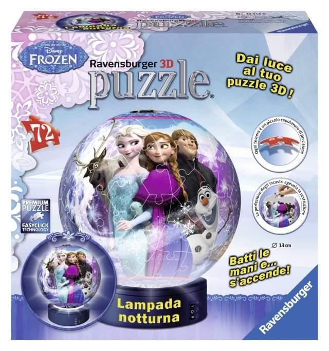 Lampada Notturna Frozen 3D Puzzle Ravensburger: batti le mani per accedere la luce